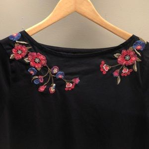 Talbots Embroidered Flower Navy Top